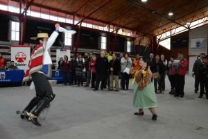Fotografia de la feria sobre discapacidad mostrando una pareja bailando cueca