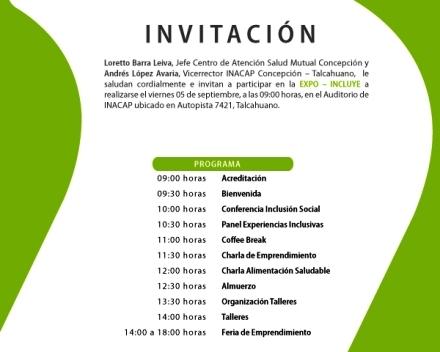 Imagen de la invitación de Expo-incluye indicando programa de actividades