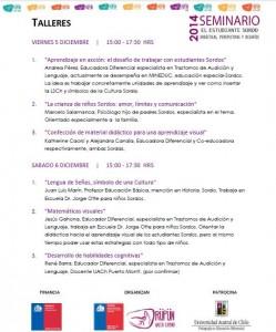 Imagen que muestra información sobre talleres disponibles